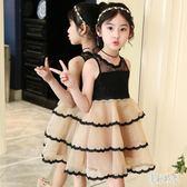 女童洋裝 2019夏季新款童裝女童韓版兒童長袖洋裝蕾絲花邊蛋糕洋裝 aj2649『美好時光』
