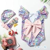 女童泳衣 ins燙金可愛溫泉連體公主美人魚泳裝【奇趣小屋】