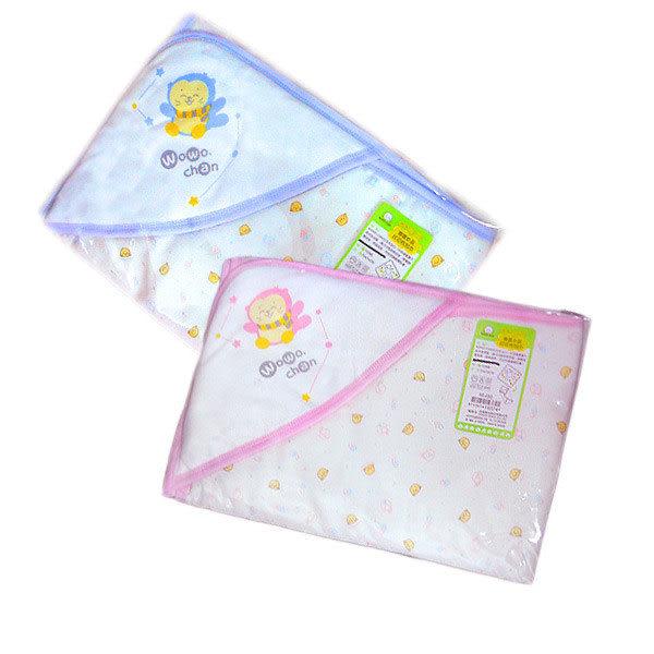 【奇買親子購物網】黃金海獺WOWOCHAN春夏印花包巾(藍色/粉色)