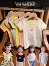 女童短袖 女童夏裝修身款彩色領百搭短袖打底衫卡通圓領T恤2021韓版新款潮 歐歐