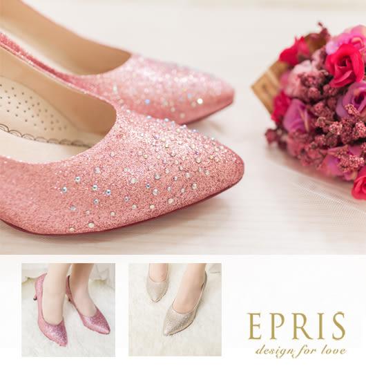 現貨 MIT尖頭鞋小中大尺碼新娘婚鞋推薦 暮光女神 水鑽真皮墊腳高跟鞋 21-26 EPRIS艾佩絲-甜美粉