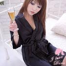 睡袍 溫泉日式浴衣 緞面不透明黑色睡衣-愛衣朵拉