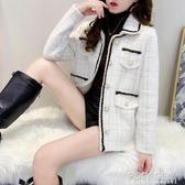 小香風外套女2020秋冬新款水貂絨針織毛衣開衫格子加厚短款上衣潮 聖誕鉅惠