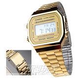 CASIO卡西歐 A168WG-9W 金色時尚魅力 嘻哈流行款 計時碼錶 鬧鈴 倒數計時 A-168WG-9W