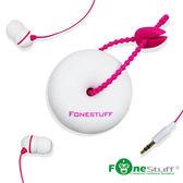 《Fonestuff》FS-6002收線式耳塞耳機-白色粉線