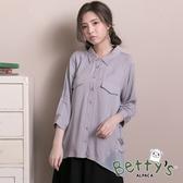 betty's貝蒂思 雪紡拼接金屬珠珠七分袖襯衫(淺灰)