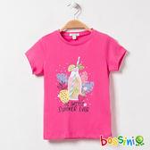 印花短袖T恤26玫瑰色-bossini女童