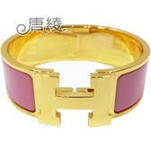 【Hermes 愛馬仕】Clic H LOGO琺瑯寬版PM手環(粉色X金色 F3000001F4L)