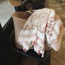沙灘巾圍巾夏女民族風棉麻紗巾薄款腰果花海邊沙灘巾遮陽絲巾防嗮披肩
