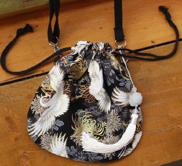 中國風霸氣仙鶴漢服包包側背斜背包古風荷包抽繩手機包男女情侶秋 聖誕交換禮物