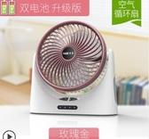 冷風機 usb小風扇可充電迷你隨身靜音學生宿舍辦公室桌面台式電扇手持便攜式小型 玫瑰女孩