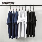 短袖T恤復古百搭純棉純色寬鬆短袖打底衫T恤白色男女體恤潮短袖衣服丅贝芙莉 貝芙莉
