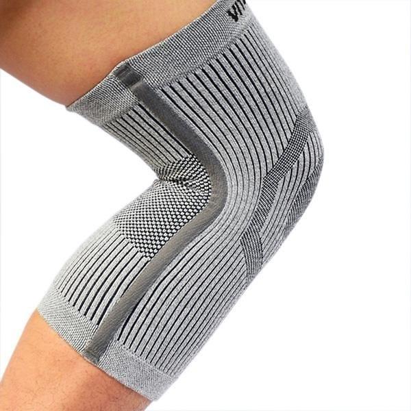 【南紡購物中心】【Vital Salveo 紗比優】防護鍺骨架護 膝(單支入)(淺灰)(運動保健-台灣製造)
