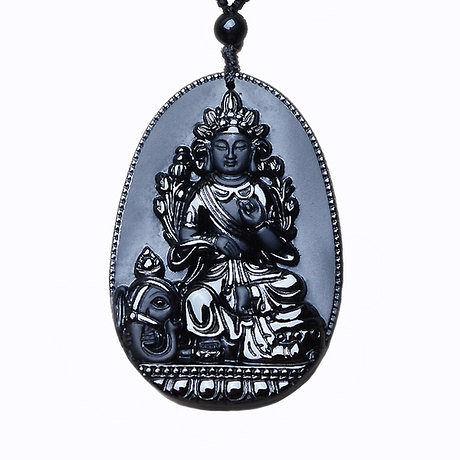 水晶開光男黑曜石普賢菩薩吊墜守護神佛項鏈