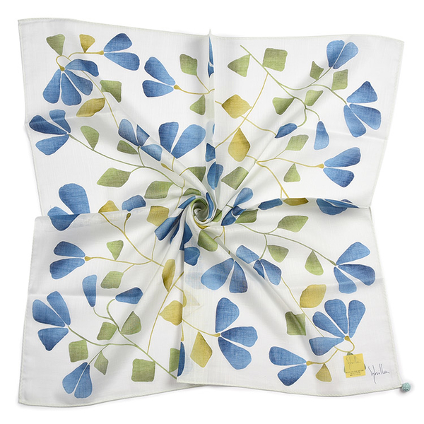 Sybilla茉莉花花朵圖案純綿帕領巾(藍色)989164-99