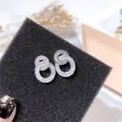 耳環 個性 雙環 拼接 鏤空 鑲鑽 水晶 圓形 輕巧 氣質 耳釘 耳環【DD1811108】 BOBI  01/24