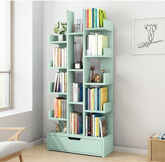 書架置物架落地簡約客廳學生樹形經濟型簡易小書櫃收納家用省空間『向日葵生活館』