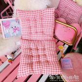 日系軟萌少女粉色格子坐墊學生寢室辦公室椅子墊冬季加厚柔軟墊子 晴天時尚館