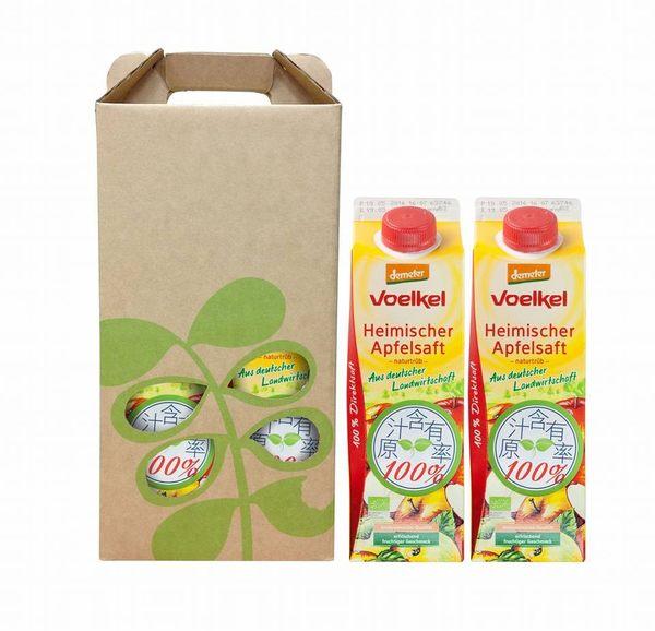 維可Voelkel有機蘋果原汁禮盒(1000mL利樂包x2瓶)★愛家嚴選100%純天然 Demeter認證 能量果汁