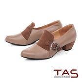 TAS小圈環飾釦拼接羊皮樂福粗跟鞋-冬季灰