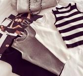 EASON SHOP(GU1882)白色條紋圓領無袖針織衫T恤背心黑色灰色露肩基礎螺紋背心內搭素色彈力貼身緊身
