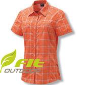 FIT維特GS2203-22粉桔色 女格紋吸排抗UV休閒短袖襯衫