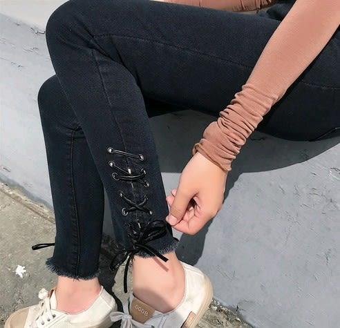 EASON SHOP(GU4157)褲口綁帶子高腰牛仔褲貼腿褲女九分褲毛邊抽鬚撕邊黑色繫帶窄管褲韓版顯瘦緊身