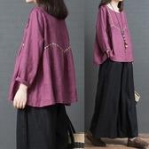 秋裝新款韓版寬鬆大尺碼時尚減齡棉麻刺繡圓領襯衣女娃娃衫上衣 週年慶降價