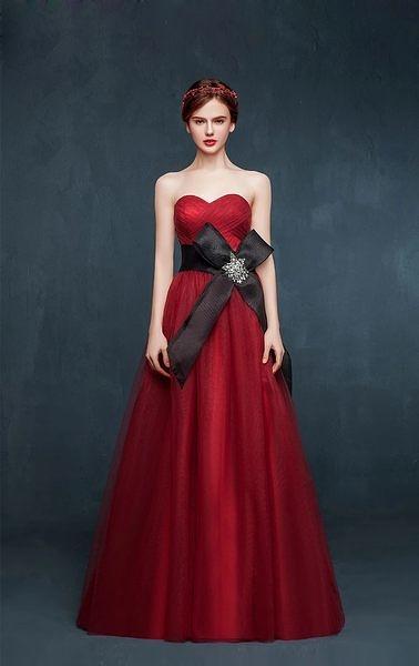 抹胸紅色禮服晚禮服敬酒服結婚長款新娘禮服演出服-lany0025