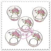 ♥小花花日本精品♥Hello Kitty 日本玫瑰玻璃杯茶杯水杯透明玻璃杯五入組日本限定(預購)