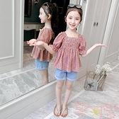 韓版兒童碎花時尚童裝雪紡上衣T恤女童襯衫【聚可愛】