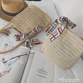 韓版草編包側背手提百搭清新文藝女包度假沙灘包  黛尼時尚精品