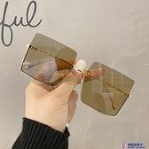 網美款茶色透明片太陽鏡女個性半框超酷墨鏡女方形眼鏡【櫻桃菜菜子】