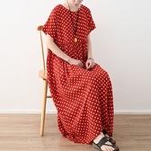洋裝-長款寬版復古波點時尚亮麗女連身裙73sm19【巴黎精品】