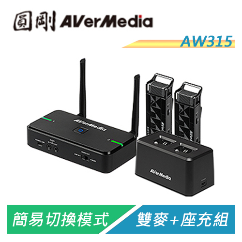 【Sound Amazing】圓剛 AVerMic AW315 教學專用無線麥克風(雙麥克風+充電底座組)