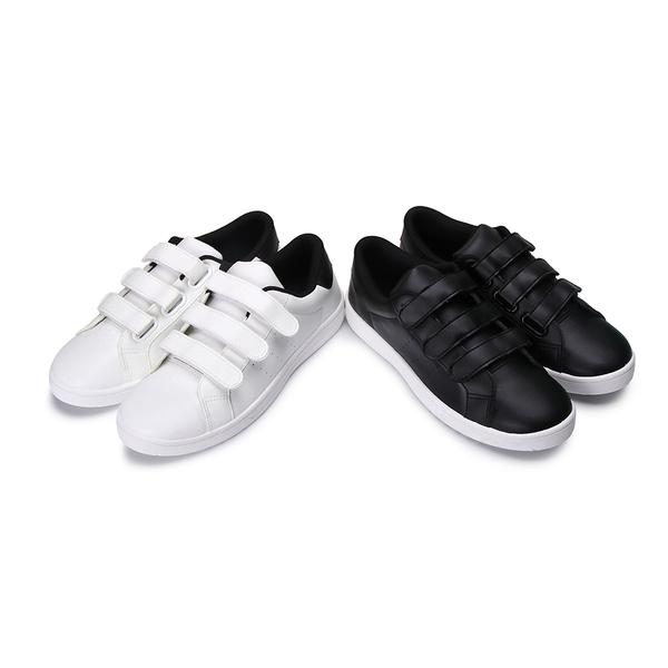 【富發牌】皮質感魔鬼氈設計休閒鞋-黑/白  2CV15
