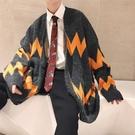 男裝慵懶風V領百搭寬鬆韓版秋冬毛衣男長袖加厚針織開衫外套潮流「時尚彩紅屋」