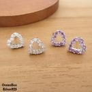 §海洋盒子§華麗高雅清透白.紫色愛心鋯石925純銀耳環 (外鍍專櫃級正白K.貼耳耳環)