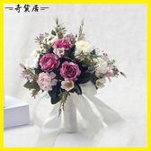 婚紗影樓攝影拍照道具新娘手捧花結婚新款粉紅白仿真韓式牡丹花束【奇貨居】