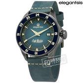 elegantsis / ELJR65AS-C1NB3L / CafeRacer 新騎士 機械錶 藍寶石水晶 日期 防水100米 真皮手錶 藍x鍍灰框 44mm