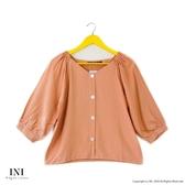 【INI】注目質感、造型氛圍寬袖上衣.橙色