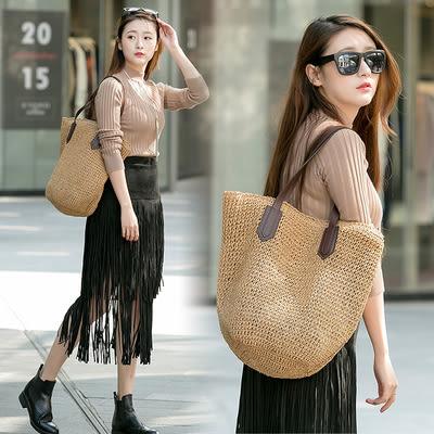 編織包夏季新款大牌歐美風草編包編織包草包女包包沙灘包度假大包 艾維朵