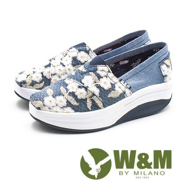 【南紡購物中心】W&M(女) BOUNCE系列 宮廷風刺繡 透氣增高厚底鞋-藍