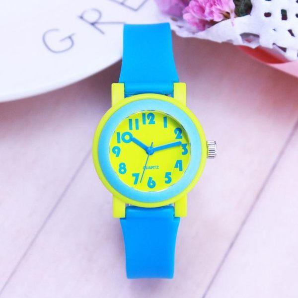 韓版撞色兒童手錶 小學生男女孩指針式石英腕錶 運動防水休閑潮錶  極有家