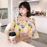 韓版新款夏季露肩綁帶一字領寬鬆短袖襯衫吊帶顯瘦襯衣上衣女     芊惠衣屋