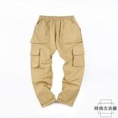寬鬆百搭九分軍綠大碼休閒褲工裝褲男直筒【時尚大衣櫥】