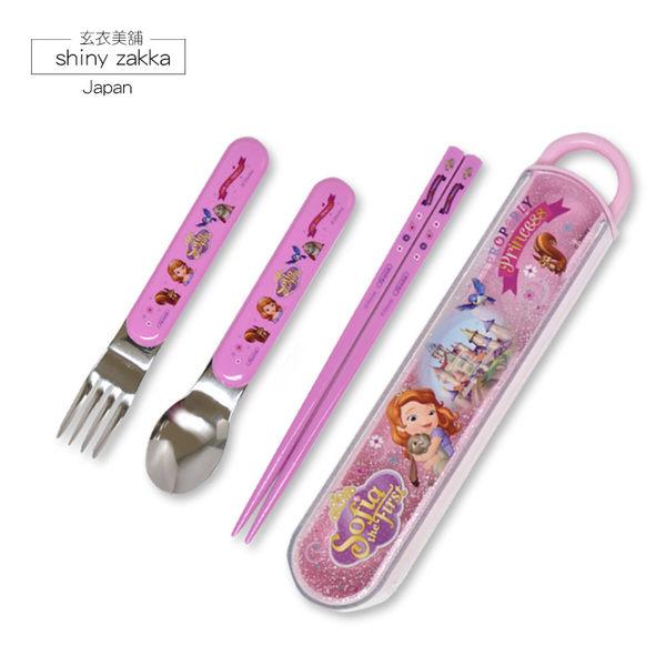 環保餐具組-日本製Disney迪士尼蘇菲亞滑蓋式環保餐具組(筷子+湯匙+叉子)-玄衣美舖