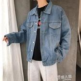 秋季男士潮牌牛仔外套男寬鬆韓版長袖純色夾克嘻哈青年學生牛仔衣 9號潮人館