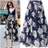 半身裙 夏季大碼碎花雪紡半身裙遮小腿胖mm高腰中長款大擺裙女