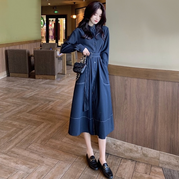 洋裝法式輕熟風氣質優雅立領單排扣裙子季綁帶風衣式洋裝長裙女裝【雙十一狂歡】